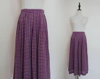 Violet White Polka Dot High Waist Pleated A-Line Vintage Midi Women Skirt