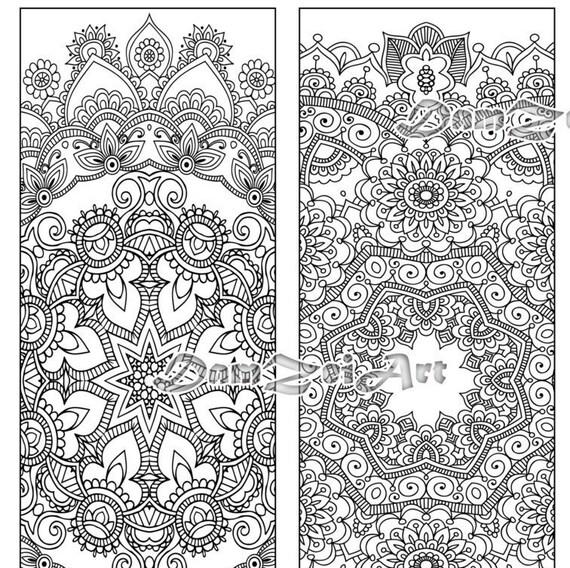 Bookmark coloring Flower Mandalas Coloring Bookmarks