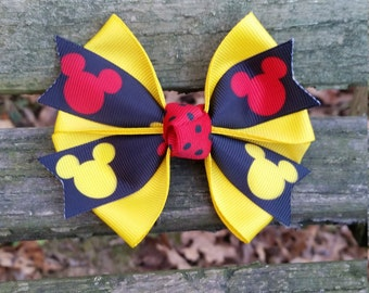 Micky Mouse Hair bow (yellow/red/black) 4 inch