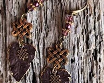 Patina Burgundy Leaves Earrings