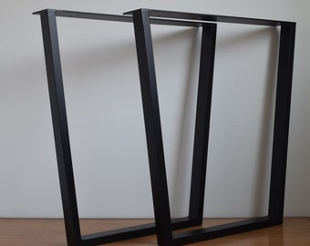 """Trapezoid Metal Table Legs (16"""" - 28"""") Set of 2 for Dining, Coffee or Sofa Tables, Desks or Benches - Taper/Tapered"""