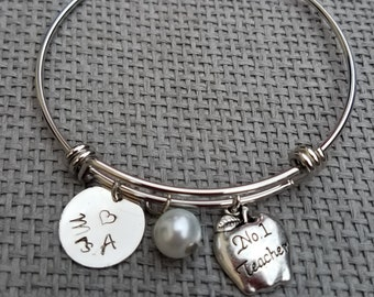 Teacher Appreciation Gift Charm Bracelet Silver Tone, Customized Teacher Bracelet, Personalized Teacher Gift, Teacher's Gift CB123007