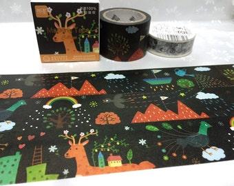 deer elk washi tape 7M x 3cm fairy tale forest rainbow village hill mountain scenery masking tape reindeer fairytale animal sticker tape