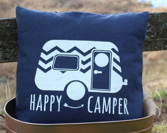 17x17//Happy Camper Pillow Cover//Free Shipping