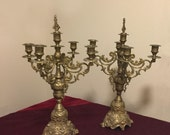 Pair Large Vintage Brass Candelabras With Toppers, Stunning Brass Candle Holders, Vintage Brass Candleholders, Hollywood Regency Rococo