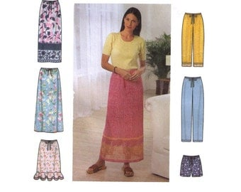 Uncut Simplicity 9139 Sewing Pattern Size XS-L Women's Skirt Pants Shorts, Drawstring Pants, Ruffle Skirt, Straight Leg Pants Summer Bottoms