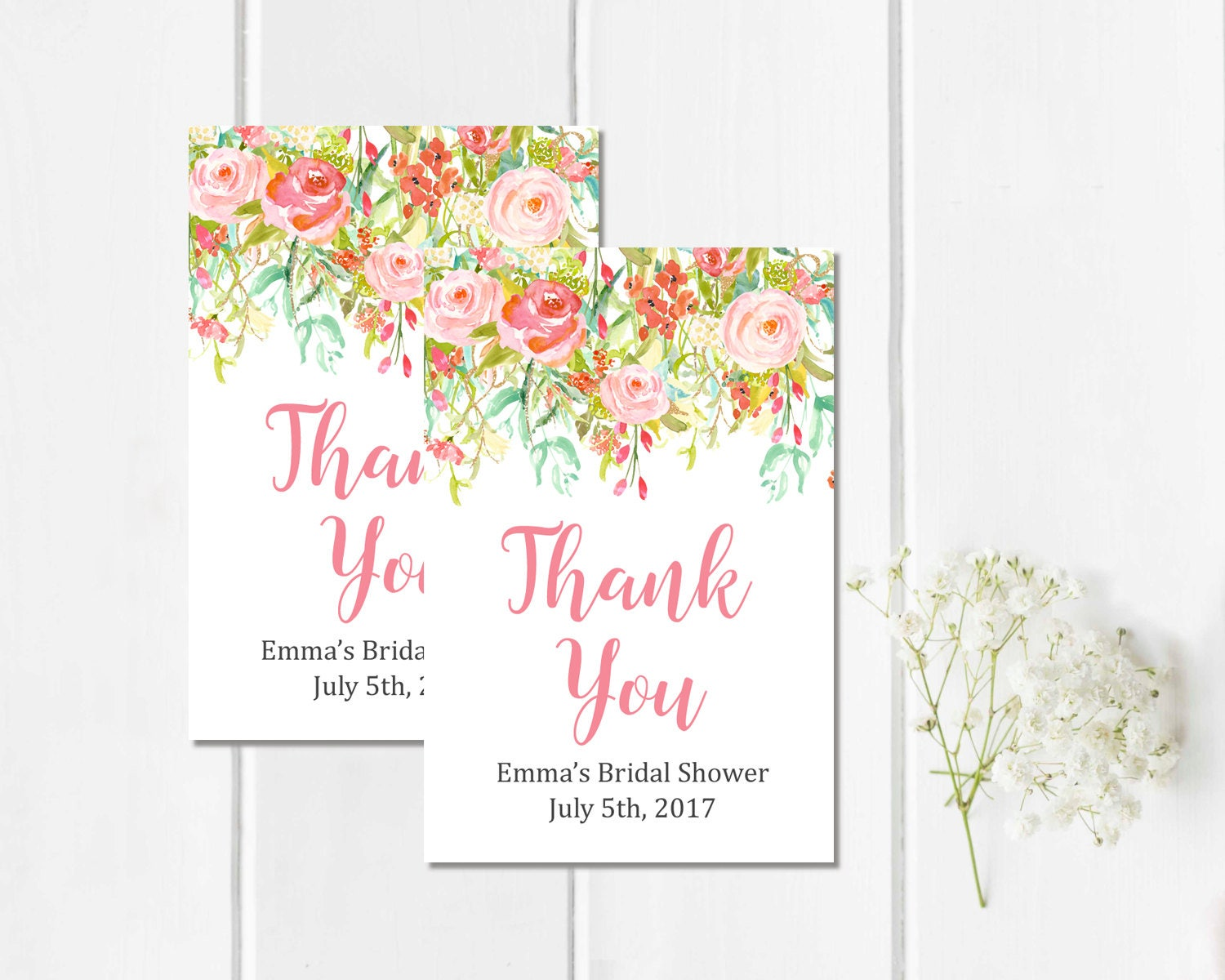 Pink Floral Personalized Bridal Shower Favor Gift Tags Printable