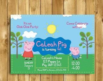 Peppa Pig Invitation, Peppa Pig Birthday Invitation, Peppa Pig Birthday Party, Peppa Pig Party, Peppa Pig Invites, 5x7, Personalized Invite