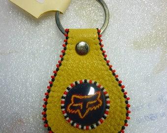 Fox fire Genuine leather key chain, beaded epoxy key chain, hand made in canada