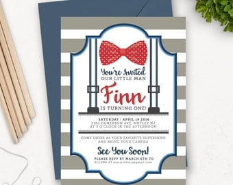 Bow Tie Birthday Invitations for Boys / First Birthday Invite / Little Man First Birthday Invitation Printable / Baby Boy Shower Invitation