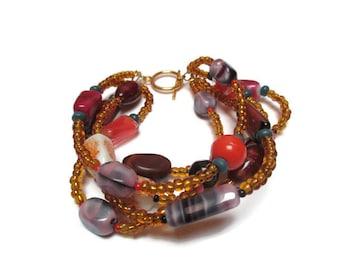 Glass bead bracelet / Colorful bead bracelet / Boho bracelet / Gift for her / Multi strand bracelet / Gypsy bracelet /Yellow bracelet