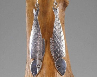Smoked Fish (Mackerel)  Earrings - sterling silver