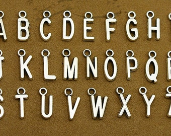 26 Alphabet Letter Charms Antique Silver Charms Add initial charm Personalized Charm YTC8009