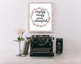 Simplify Sign, printable, motivational wall decor, motivational quotes, motivational poster, motivational print, success, success quotes