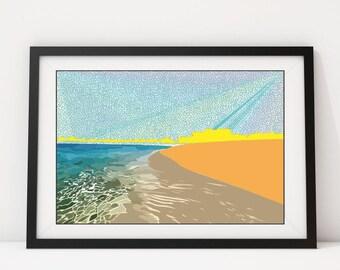 BeachIsh: Giclee Print, Wall Art, Pop Art, Wall Decor, Beach