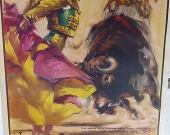 """ORIGINAL! 1960 Poster """"Plaza De Toros Monumental"""""""
