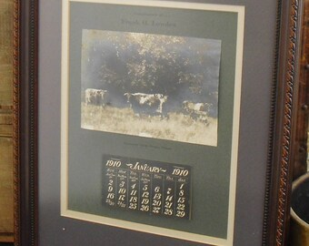 Vintage Photograph of Sinnissippi Farm and 1910 Calendar Framed Under Glass, Oregon, Illinois, Frank Lowden, Governor, Cattle Photo, Silver