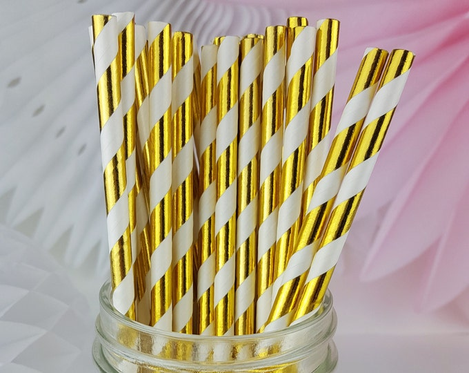 Gold Striped Foil Paper Straws  // Birthday Party, Wedding, Baby or Bridal Shower  // Bar Cart Accessory or Cake Pop Sticks