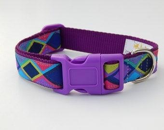Purple Geometric Dog Collar, Multicolor Dog Collar, Adjustable Dog Collar, Purple Dog Collar
