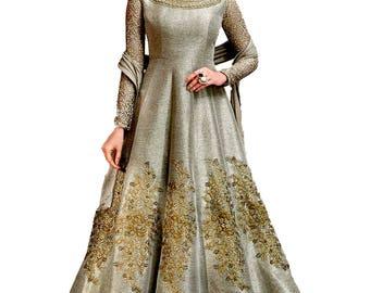 Long Silk Gown  Anarkali Dress