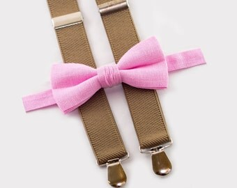 Groomsmen bowtie and suspenders Pink bow tie & tan suspenders Ring bearer outfit