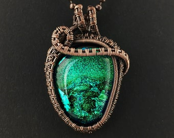 Wire Wrapped Dichroic Glass Pendant / Green dichroic glass pendant with copper wire work