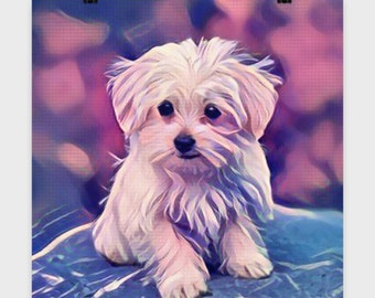 "PUP ART - MALTESE Puppy - 16 x 16"" Poster - Art Print - Maltipoo - Dog Lovers Gift - Wall Art"
