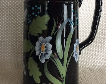 Antique Victorian Jackfield pitcher black glaze red clay with hand applied painted flower