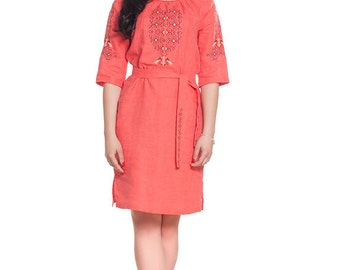Beautiful coral ethnic dress. 100% linen.  Embroidered tunic. Vyshyvanka. FREE SHIPPING