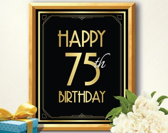 Happy 75th birthday, 75th birthday decoration, 75th birthday, 75th birthday card, great gatsby birthday, art deco birthday, happy birthday