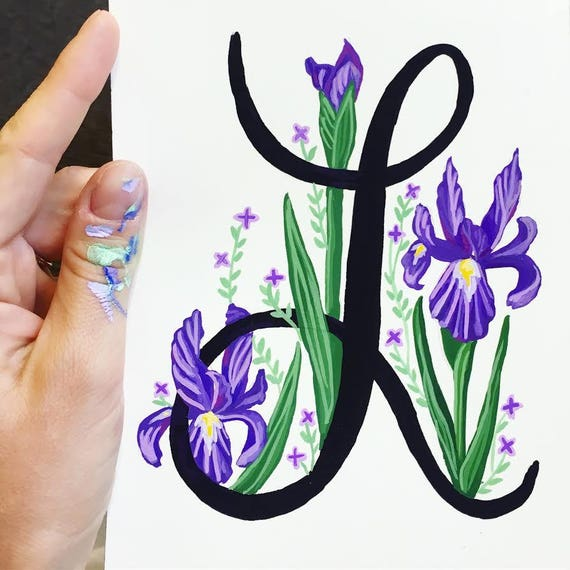 Hand Painted Letter, Custom Monogram, Floral Letter Illustration, Hand Lettering, Custom Gouache Acrylic Letter Painting Illustration