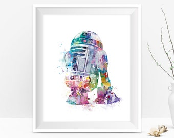 R2D2 Watercolor Art Print R2D2 Poster Star Wars Print Star Wars Movie Poster Force Awakens Wall Decor Gift For Mom Digital Download