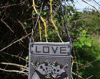 Panda Love beaded canvas bag purse cross body small hippie bag girls crossbody bag save the panda Vintage 1980s