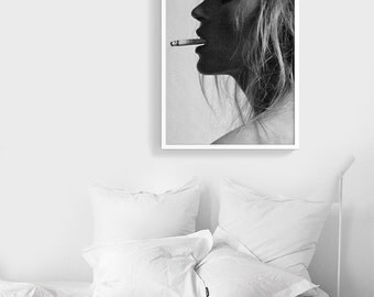 Smoking hot Kate Moss | Fashion Poster Printable Digital File | Instant download | Fashion photography | Cigarette art print