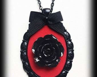 Black Rose Necklace, Romantic Gothic Victorian Rose Cameo Pendant, Red Velvet, Steampunk, Valentine Gift For Her, Gothic Jewelry