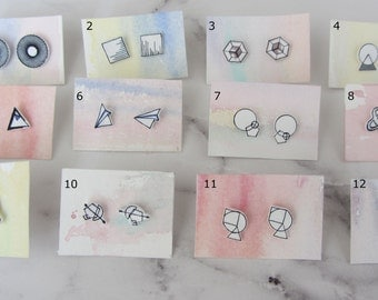 Studs / earrings with hand-drawn geometric patterns/square/circle/triangle/arrow / & / paper planes / Hexagon / bulb / handmade