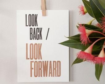 Letterpress Postcard Mini Print –Look Forward – Wall Art, Hopes & Dreams, Creative Process, Motivational Art, Typography Print