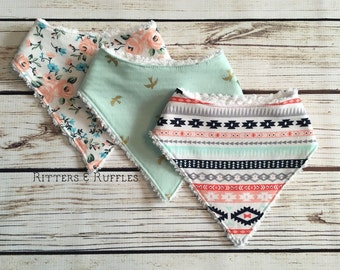 Baby Bandana Bib Set | Aztec Bandana Bib | Floral Bandana Bib | Baby Girl Bib | Gift for Baby Girl | Baby Shower Gift