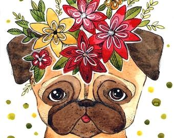 pug print watercolor dog nursery pug decor wall dog painting pug print bulldog watercolor kawaii