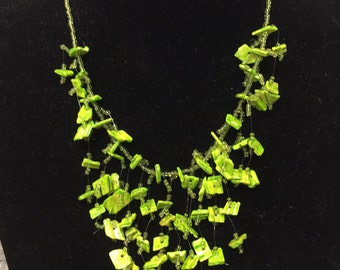 Green Square Beads Necklace - Statement Necklace - Multi Strand