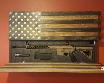 AR-15 Size Gun Concealment Cabinet, Dark Rustic American Flag, LOCKING DOORS! Functional Patriotic Art!