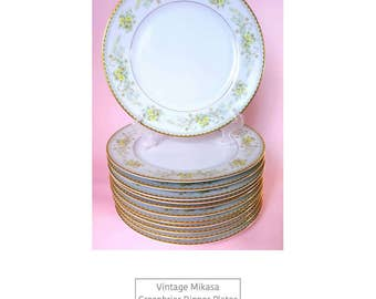 12 Vintage Mikasa Greenbriar Dinner Plates / Country Chic / Vintage China