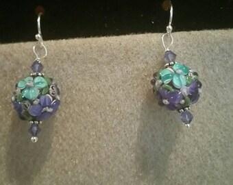 0193-Purple Lampwork Glass Earrings