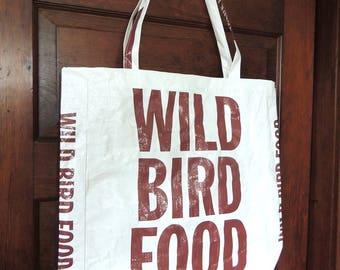 Recycled Birdseed Bag / Feed Bag  Tote -- Medium Wild Bird Food