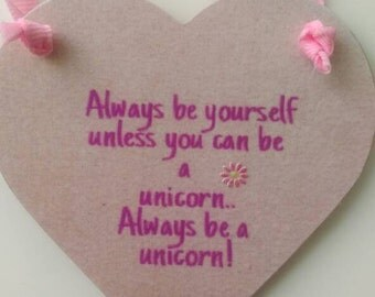 Unicorn gift, gift for her, birthday gift, girls bedroom, bedroom decor, home decor, nursery decor, pink hanging heart, friend humour gift