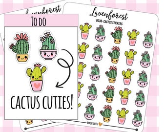 Cactus planner stickers, cactus stickers, kawaii stickers, cute sticker, stickers for happy planner, personal planner,  filofax, D0038