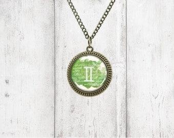 Astrology Pendant Necklace - Gemini - Birthstone Necklace