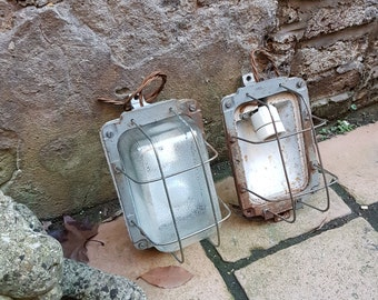 Pair of Soviet era bulkhead cage wall lights: rewired