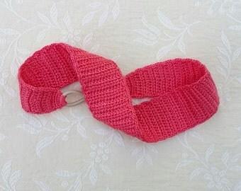Crochet headband in coral pink, women's headband, pink headband, hair band, crochet hair accessory