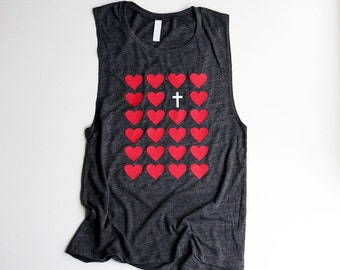 Christian Workout Muscle Tanks for Women Christian T Shirts Workout Muscle Tank Barre Heart Cross Christian Shirts Workout Tanks for Women